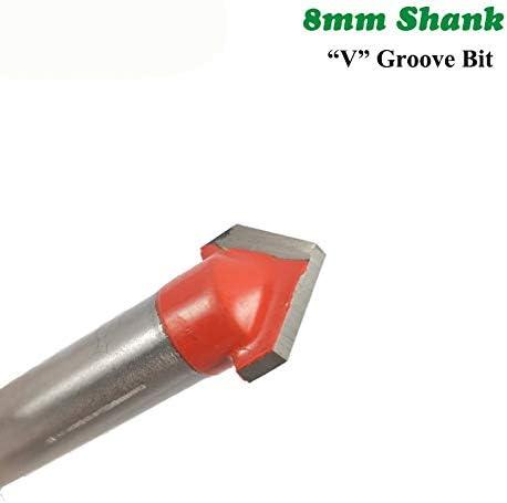 NO LOGO ZZB-ZT, 1pc 8mm Schaft 90 Grad V-Nut Bit 1/2 Zoll CNC-Stich-Fest Fräser HM-Fräser Bohren Holz (Size : 8x12.7mm)