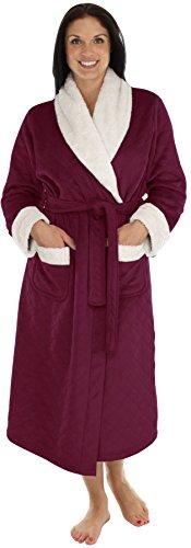 - PajamaMania Women's Plush Fleece Luxury Heavy Weight Long Robe Burgundy (PML40P2031-SML)