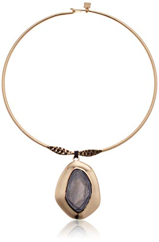 Robert Lee Morris Soho Women's Shell Stone Sculptural Pendant Round Wire Collar Necklace, Grey Mop, One Size