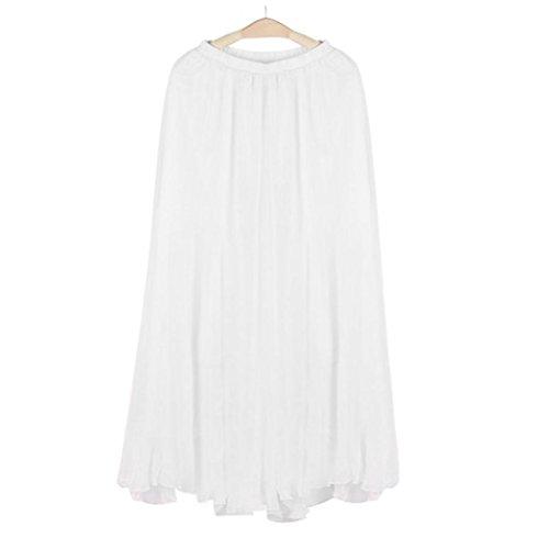 Falda de verano, RETUROM Mujeres elástico cintura gasa Long Beach vestido de falda blanco