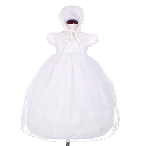 - Dressy Daisy Baby Girls' Beaded Organza Baptism Christening Gown Dress With Bonnet Infant Size 3-6 Months White