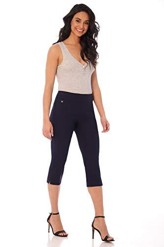 Rekucci Women's Straight Leg Comfort Capri w/Tummy Control and Secret Pocket (14,Navy)