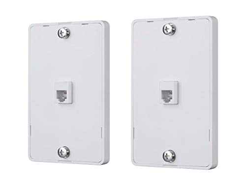 Monoprice 130804 Phone Jack Wall Plate - White (2 Pack) Used for Terminating RJ45 4 Conductor Telephone Line, ()