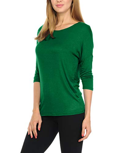 bluensquare Women T-Shirts Soft Rayon Jersey Top - 3/4 Dolman Sleeves, 5 Sizes(S-XXL) (Medium, Kelly Green) -