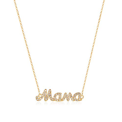 Gold Dainty Mom Necklace,14K Gold Plated Cute Tiny Mama Personalized Name Charm Necklace Delicate Word Cubic Zirconia Mom Chain Jewelry Gift for Mother's Day,Mother's Birthday