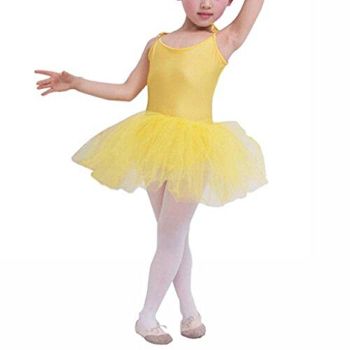[Buenos Ninos Girl's Ballet Costume Tutu Dance Dress Leotard Bodycon Braces Skirts Yellow 6-7T] (Costumes Braces)