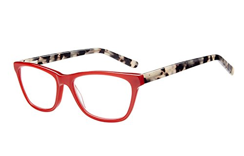 ICU Eyewear DuBois Red Reading Glasses Women's Handcrafted Signature Collection Reading Glasses (Red, - Eyewear Handcrafted