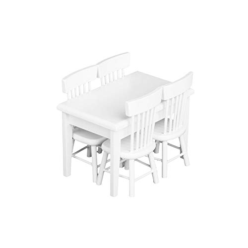 5 PCS Delicate Dollhouse Miniature Table Cute Mini Doll House Chairs Wooden Decoration Accessories Vivid Toy Model White