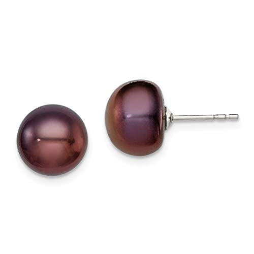 925 Sterling Silver 10mm Black Freshwater Cultured Button Pearl Stud Ball Earrings Fine Jewelry For Women Gift Set (Freshwater Silver Mounting Sterling Pearl)