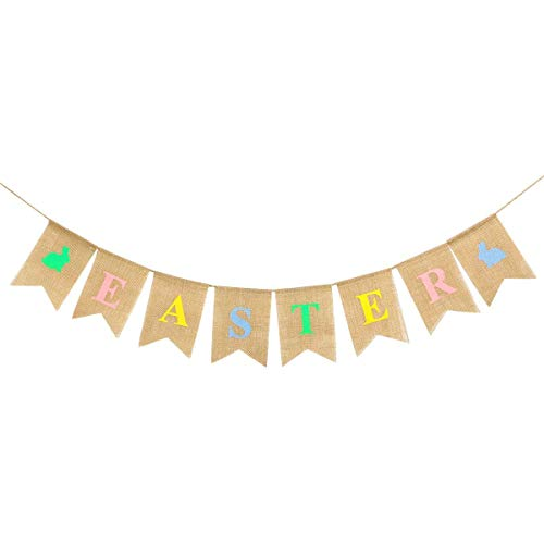 Happy Easter Burlap Banner - Easter Bunting Decoration - Religious Holiday Bunting Wall Hanging - Wedding Bunting Card Photo Prop Rustic Sign Celebration Party Decoration Garland (A, One Size)