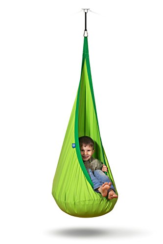 AMAZEYOU Kids Swing Hammock Pod Chair - Child's Rope Hanging Sensory Seat Nest for Indoor and Outdoor Use with Inflatable Pillow - Great for Children, All Accessories Included (Nook (Furniture Extended Warranty)