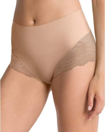 SPANX Women's Undie-Tectable Lace Hi-Hipster Panty Soft Nude Medium