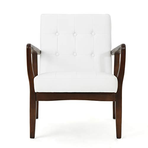 GDF Studio Conrad Mid Century Modern Arm Chair Faux Leather White