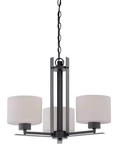 Nuvo Lighting 60/5306 Parallel Three Light Chandelier 60 Watt A19 Max. Etched Opal Glass Aged Bronze Fixture (Transitional Aged Bronze Chandelier)