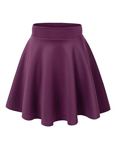 (MBJ WB669 Womens Basic Versatile Strechy Flare Skater Skirt L)