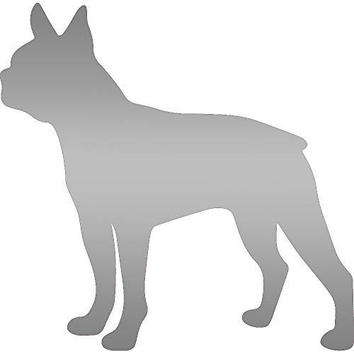 ANGDEST Boston Terrier Silhouette (Metallic Silver) (Set of 2) Premium Waterproof Vinyl Decal Stickers for Laptop Phone Accessory Helmet Car Window Bumper Mug Tuber Cup Door Wall Decoration ()