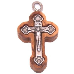 (Olive wood Cross with Embedded pewter Cross - Eastern (2.7 cm - 1.1