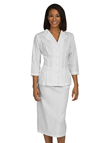 Med Couture Professional Women's 2 Piece Skirt and Jacket Set Dress White 24.5