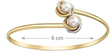 Carissima Gold 9ct 3 Colour Gold Double Knot and Pearl Flexible Torque Bangle