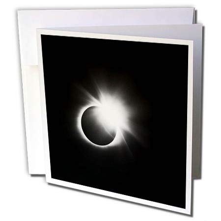 3dRose Stamp City - Astronomy - Photograph of The 2017 Solar Eclipse. Capture of The Diamond Ring. - 12 Greeting Cards with envelopes (gc_290787_2)