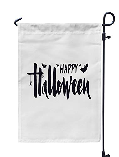 Soopat Trick Or Treat Seasonal Flag, Happy Halloween with Spider and Banner Greeting Card Weatherproof Double Stitched Outdoor Decorative Flags for Garden Yard 12''L x 18''W Welcome Garden Flag]()