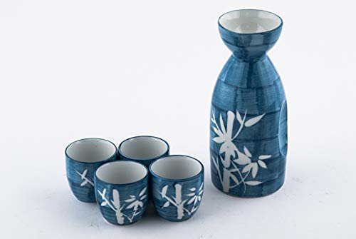 - Japanese Asian Lucky Bamboo Blue and White Porcelain Sake Set Decanter with Four Cups Drinkware Gift Set