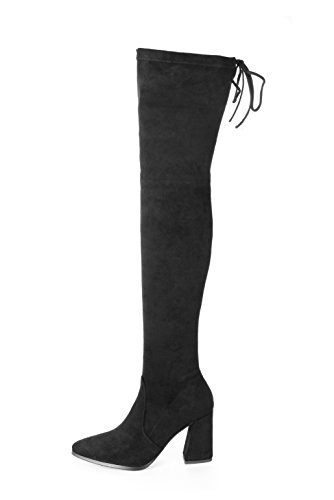MIUINCY Womens Over The Knee Pointy Boots Stretchy Faux Suede Drawstring Block Black