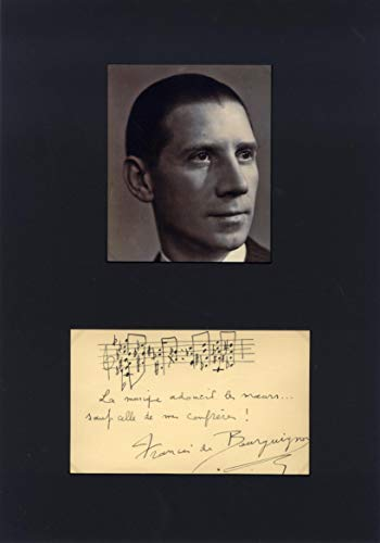 COMPOSER Francis de Bourguignon autograph musical quotation signed & mounted