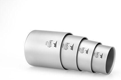 Keith Titanium Ti3501 Nesting 4-Piece Double-Wall Mug Set Shipped from USA