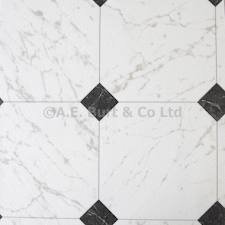 eXtreme Black White Diamond Tile Effect Vinyl Flooring Kitchen