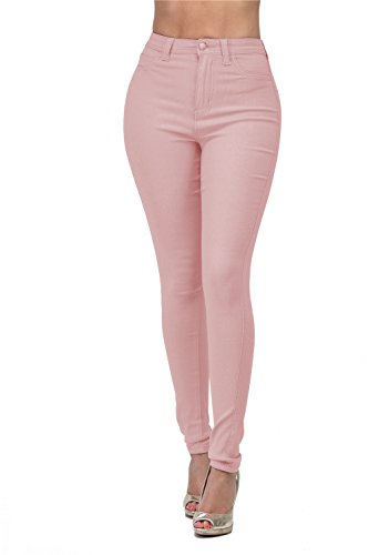 LOVER BRAND FASHION High Waisted-Rise Ladies Colored Denim Stretch Skinny Destroyed Ripped Distressed Jeans for Women, Mauve, Large