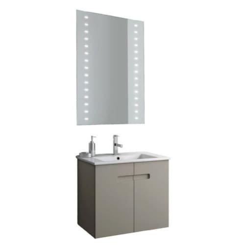 Nameeks NY37 ACF 24-6/15″ Wall Mounted Vanity Set with Wood Cabinet, Ceramic Top, PVC Matt Canapa