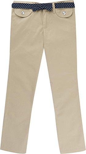 Girls Belted Twill Pants (French Toast School Uniform Girls Twill Straight Leg Belted Pants, Khaki, 10)