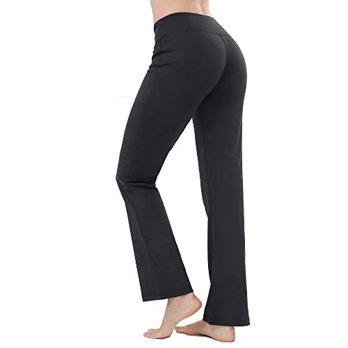 ZEALOTPOWER Bootcut Yoga Pants Women Flare Leg Pockets Black Long High Waist Tall-Petite