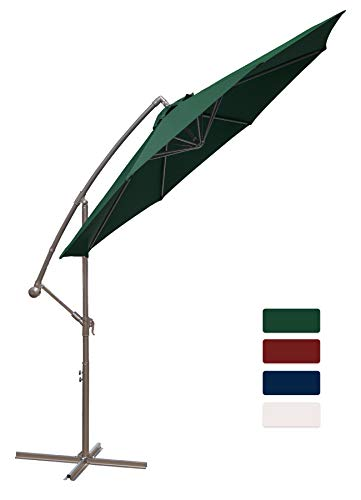 HASLE OUTFITTERS Offset Patio Umbrella 10FT Cantilever Umbrella Outdoor Market Umbrella Hanging Umbrella with Cross Base Dark Green