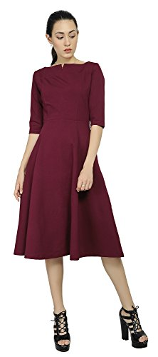 Marycrafts Women's Fit Flare Tea Midi Dress for Office Business Work 20 Burgundy