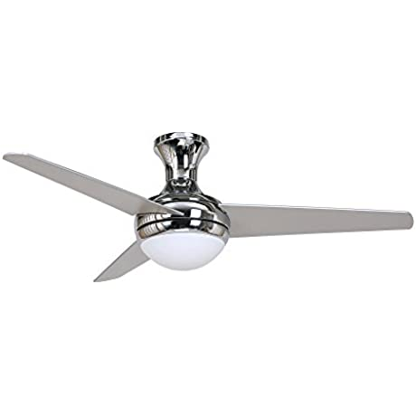 Y Decor AISLEE CH Modern Transitional 48 Inch Ceiling Fan 3 Reversible Blade Chrome Base Light Kit Included By Y D Cor Chrome Silver