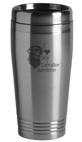 (Sutter's Mill Specialties 16-ounce Stainless Travel Mug - I Love My Labrador)