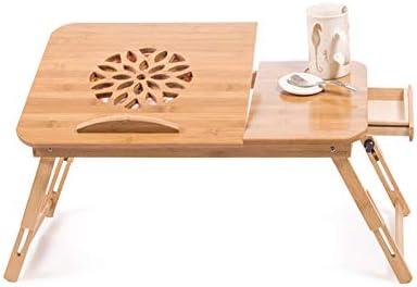 ラップトップベッドトレイテーブル、折りたたみ式ベッドデスク引き出し冷却ファンの高さはソファベッドオフィス用に調整可能