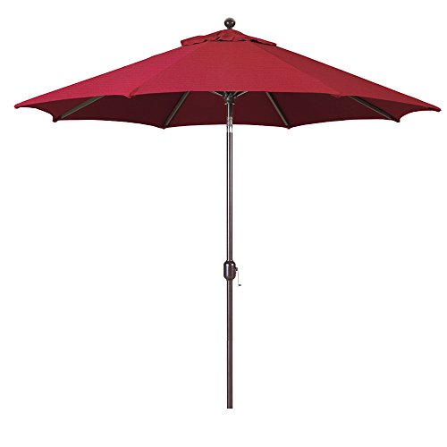 Galtech 9-Foot (Model 737) Deluxe Auto-Tilt Umbrella with Antique Bronze Frame and Sunbrella Fabric Burgundy (Includes Extended Frame Warrantee)