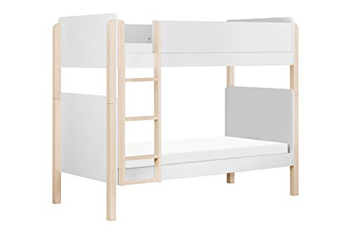 Babyletto Tiptoe Bunk Bed, White and Washed Natural