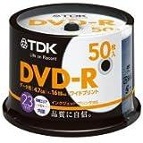 TDK データ用 DVD-R 4.7GB 1-16倍速対応 ホワイトワイドプリンタブル対応 50枚スピンドル DR47PWC50PA