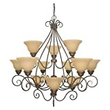 Cheap Nuvo 60/1033 3 Tier 12 Light Chandelier with Champagne Glass