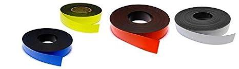 Nastro magnetico colorato Colore:bianco 0,85mm x 15mm x 5m per etichettare evidenziare e contrassegnare flessibile e fortemente magnetizzato