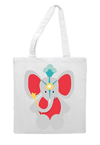 Cute White Shopper Themed Bag Circus Tote Elephant OSwq5wpP