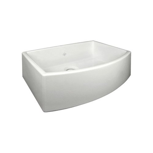 Rohl RC3021PCT Shaws Waterside Apron Front Fireclay Kitchen Sink - 30 x 20 7/8 x 10 Single Bowl with A Bowed Front, - Shop Waterside