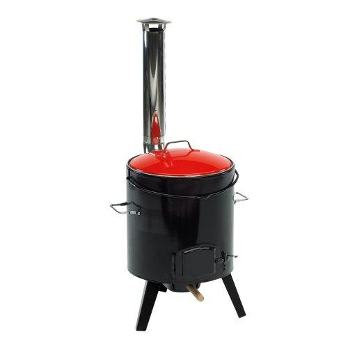 Landmann Eintopfofen schwarz/rot mit Schöpfkelle und 4 Schachlikspießen, 14 Liter Fassungsvermögen, Größe: 46x92,5x49 cm