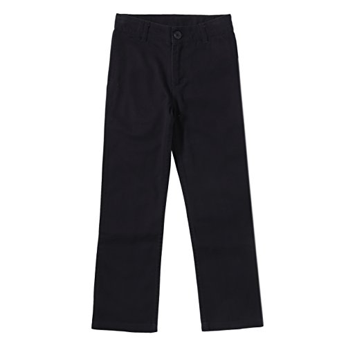 Bienzoe Boy's School Uniforms Cotton Twill Adjust Waist Pants Black 16 (Boys Dress Twill Pant)
