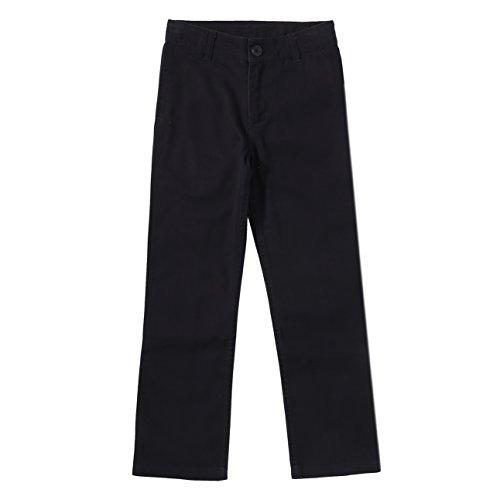 Bienzoe Boy's School Uniforms Flat Front Cotton Twill Adjust Waist Pants Black 10