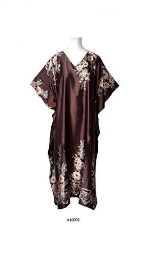 Fionalissa Women's Printed Soft Silky Satin Long Caftan Brown Onesize